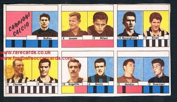 1961 VAV PROOF uncut card sheet John Charles Omar Sivori Juventus no team names! Inter